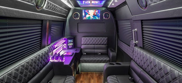 Our fleet comes with leather seating, a full service mini bar, a flat screen TV and more!