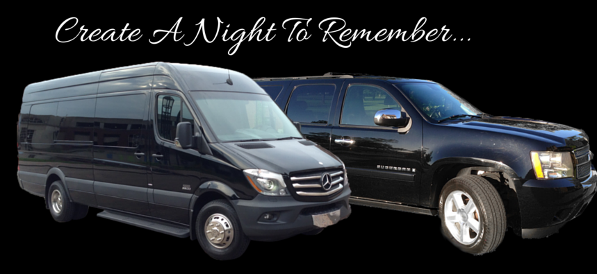 We offer a 2014 Mercedes-Benz Sprinter and a Black Suburban that seat up to 6 passengers!